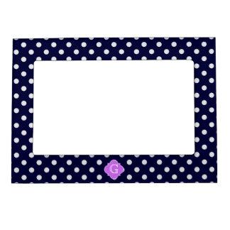 Navy White Polka Dot Lilac Quatrefoil Monogram Picture Frame Magnets