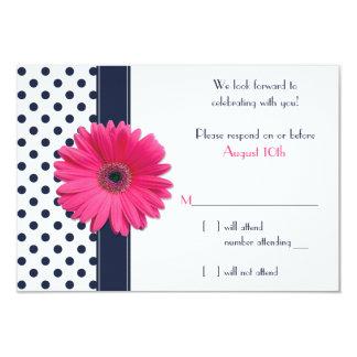 Navy White Polka Dot Pink Daisy Wedding RSVP Card