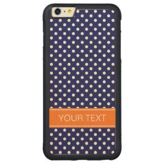 Navy White Polka Dot Pumpkin Orange Name Monogram Carved Maple iPhone 6 Plus Bumper Case