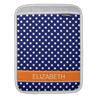 Navy White Polka Dot Pumpkin Orange Name Monogram Sleeve For iPads