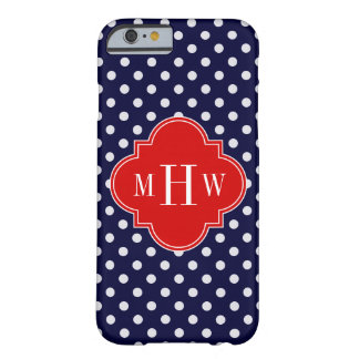 Navy White Polka Dot Red Quatrefoil 3 Monogram Barely There iPhone 6 Case