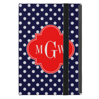 Navy White Polka Dot Red Quatrefoil 3 Monogram Case For iPad Mini