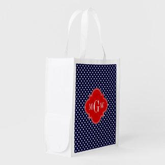 Navy White Polka Dot Red Quatrefoil 3 Monogram Grocery Bag