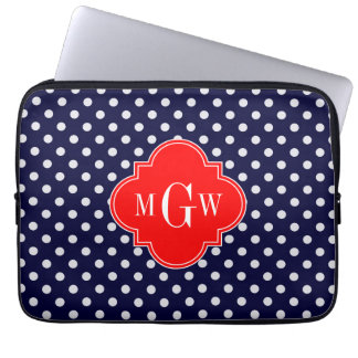 Navy White Polka Dot Red Quatrefoil 3 Monogram Laptop Sleeve