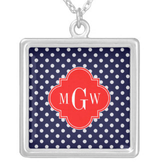 Navy White Polka Dot Red Quatrefoil 3 Monogram Jewelry