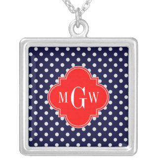 Navy White Polka Dot Red Quatrefoil 3 Monogram Silver Plated Necklace