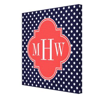 Navy White Polka Dots Coral Quatrefoil 3 Monogram Gallery Wrap Canvas