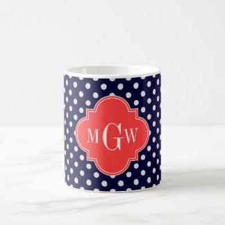 Navy White Polka Dots Coral Quatrefoil 3 Monogram Coffee Mug