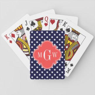 Navy White Polka Dots Coral Quatrefoil 3 Monogram Playing Cards