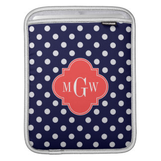 Navy White Polka Dots Coral Quatrefoil 3 Monogram Sleeves For iPads