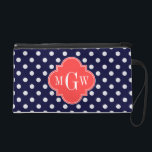 """Navy White Polka Dots Coral Quatrefoil 3 Monogram Wristlet Purse<br><div class=""""desc"""">Navy Blue and White Polka Dotted Pattern, Coral Red Quatrefoil 3 Initial Monogram Label Customize this with your 3 initial monogram, name or other text. You can also change the font, adjust font size and font color, move the text to adjust the monogram letter spacing, etc. If you would like...</div>"""