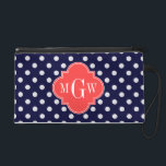 "Navy White Polka Dots Coral Quatrefoil 3 Monogram Wristlet Purse<br><div class=""desc"">Navy Blue and White Polka Dotted Pattern, Coral Red Quatrefoil 3 Initial Monogram Label Customize this with your 3 initial monogram, name or other text. You can also change the font, adjust font size and font color, move the text to adjust the monogram letter spacing, etc. If you would like...</div>"