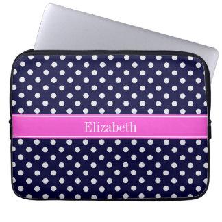 Navy White Polka Dots Hot Pink Ribbon Monogram Laptop Computer Sleeves