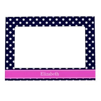 Navy White Polka Dots Hot Pink Ribbon Monogram Magnetic Photo Frame