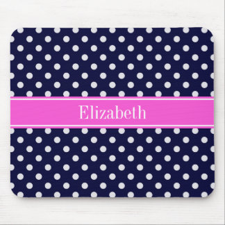 Navy White Polka Dots Hot Pink Ribbon Monogram Mouse Pad