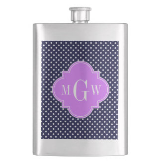 Navy White Polka Dots Lilac Quatrefoil 3 Monogram Flask