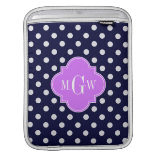 Navy White Polka Dots Lilac Quatrefoil 3 Monogram Sleeves For iPads