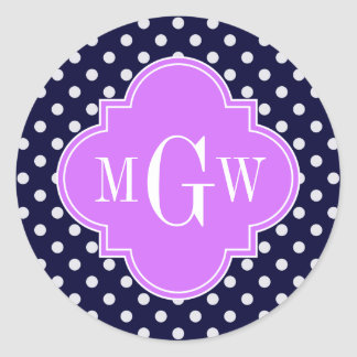 Navy White Polka Dots Lilac Quatrefoil 3 Monogram Round Sticker