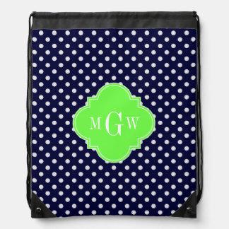 Navy White Polka Dots Lime Quatrefoil 3 Monogram Drawstring Backpacks