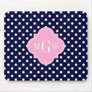 Navy White Polka Dots Pink Quatrefoil 3 Monogram Mouse Pad