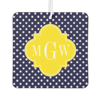 Navy White Polka Dots Yellow Quatrefoil 3 Monogram