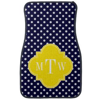 Navy White Polka Dots Yellow Quatrefoil 3 Monogram Car Mat