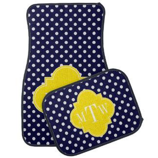 Navy White Polka Dots Yellow Quatrefoil 3 Monogram Floor Mat
