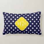Navy White Polka Dots Yellow Quatrefoil 3 Monogram Throw Pillow