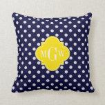 Navy White Polka Dots Yellow Quatrefoil 3 Monogram Pillows