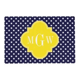 Navy White Polka Dots Yellow Quatrefoil 3 Monogram Placemat