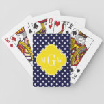 "Navy White Polka Dots Yellow Quatrefoil 3 Monogram Playing Cards<br><div class=""desc"">Navy Blue and White Polka Dotted Pattern, Yellow Quatrefoil 3 Initial Monogram Customize this with your 3 initial monogram, name or other text. You can also change the font, adjust font size and font color, move the text to adjust the monogram letter spacing, etc. If you would like this pattern...</div>"