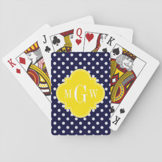 Navy White Polka Dots Yellow Quatrefoil 3 Monogram Playing Cards