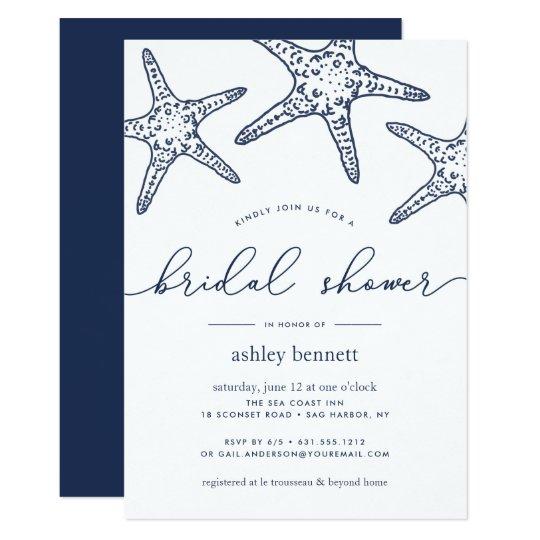 navy white starfish bridal shower invitation