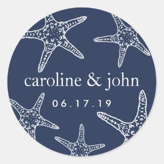 Navy & White Starfish Personalized Wedding Classic Round Sticker