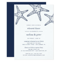 Navy & White Starfish Rehearsal Dinner Invitation