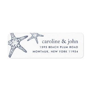 Navy & White Starfish Return Address Label
