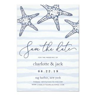Navy & White Starfish Save the Date Card