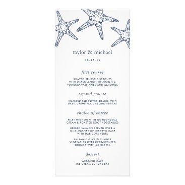 Beach Themed Navy & White Starfish Wedding Menu Card