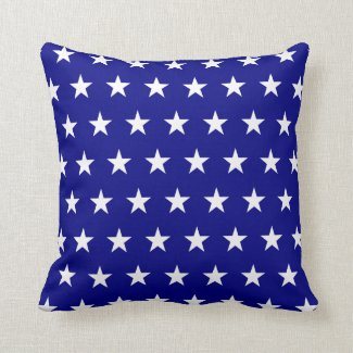 Navy White Stars Throw Pillow