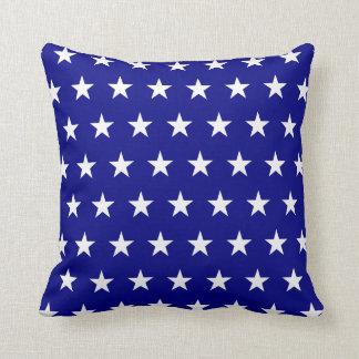 Navy White Stars Throw Pillow
