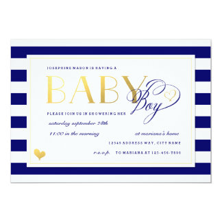 Navy & White Stripe Baby Boy Shower Gold Accents Card