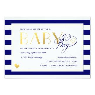 Navy & White Stripe Baby Boy Shower Gold Accents 5x7 Paper Invitation Card