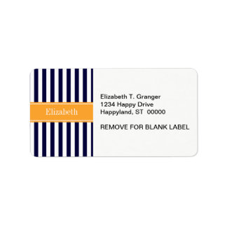 Navy White Stripe Cantaloupe Ribbon Name Monogram Label