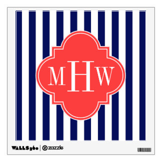 Navy White Stripe Coral Red Quatrefoil 3 Monogram Wall Sticker
