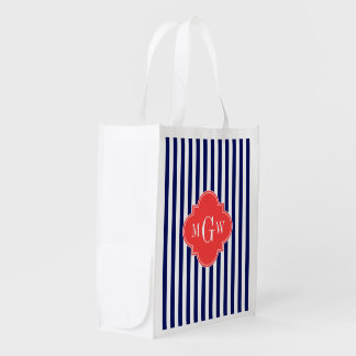 Navy White Stripe Coral Red Quatrefoil 3 Monogram Reusable Grocery Bags
