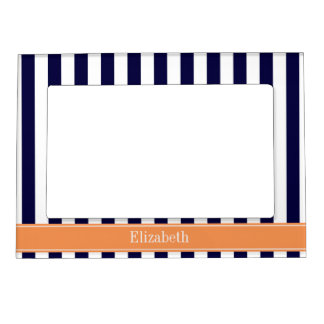 Navy White Stripe Dark Peach Ribbon Name Monogram Photo Frame Magnet