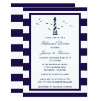 Navy & White Stripe Lighthouse Rehearsal Dinner Invitation