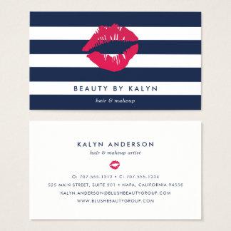 Navy & White Stripe Lip Print Business Card