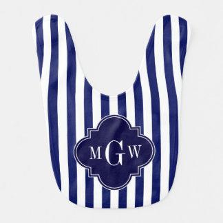 Navy White Stripe Navy Blue Quatrefoil 3 Monogram Baby Bib