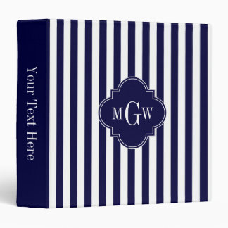 Navy White Stripe Navy Blue Quatrefoil 3 Monogram Binder